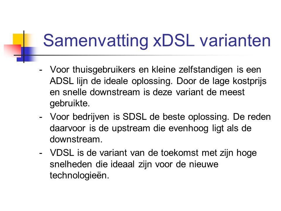 Samenvatting xDSL varianten