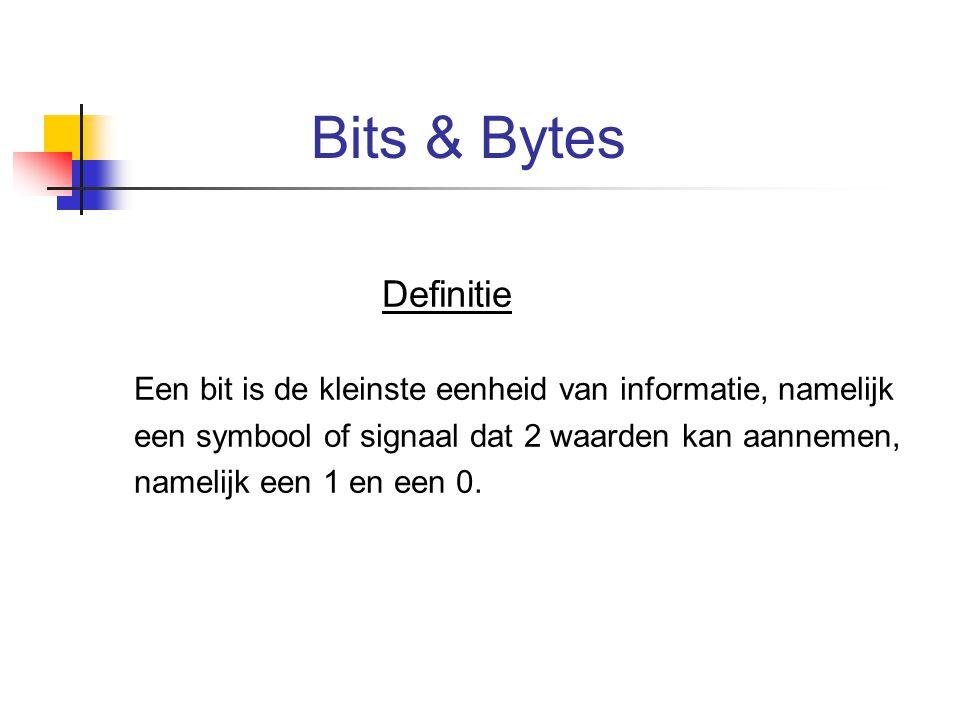 Bits & Bytes Definitie. Een bit is de kleinste eenheid van informatie, namelijk. een symbool of signaal dat 2 waarden kan aannemen,