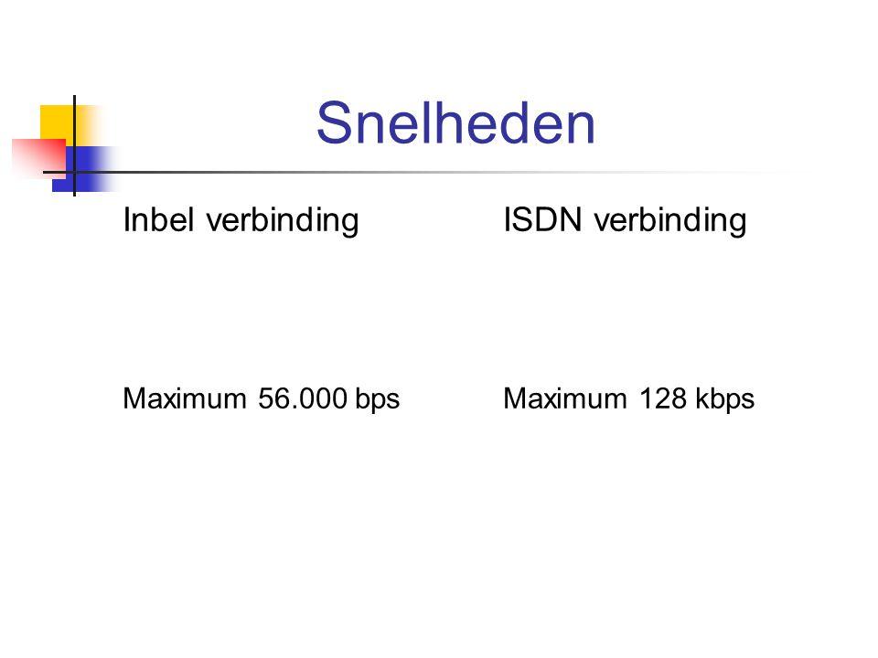 Snelheden Inbel verbinding ISDN verbinding Maximum 56.000 bps