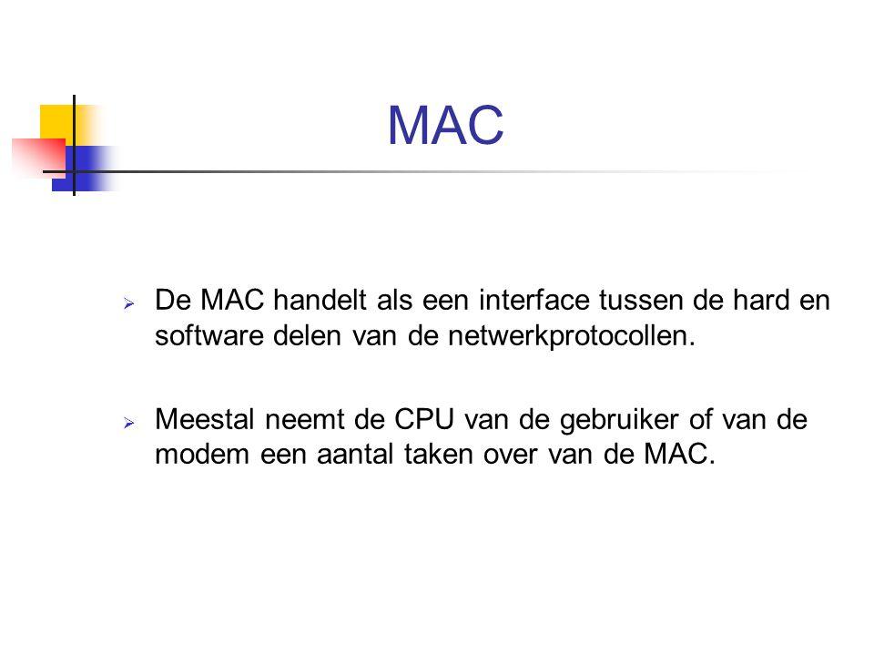 MAC De MAC handelt als een interface tussen de hard en software delen van de netwerkprotocollen.