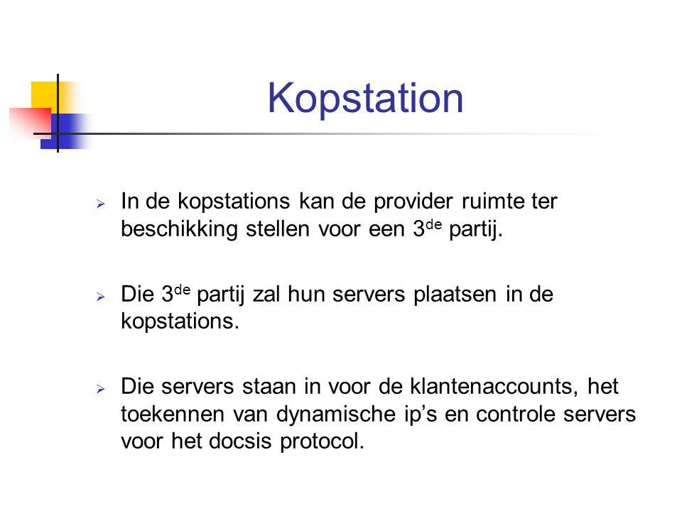 Kopstation In de kopstations kan de provider ruimte ter beschikking stellen voor een 3de partij.