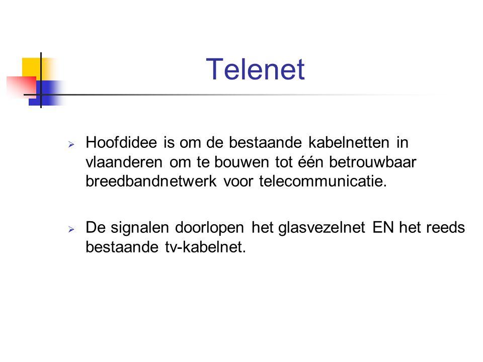 Telenet Hoofdidee is om de bestaande kabelnetten in vlaanderen om te bouwen tot één betrouwbaar breedbandnetwerk voor telecommunicatie.
