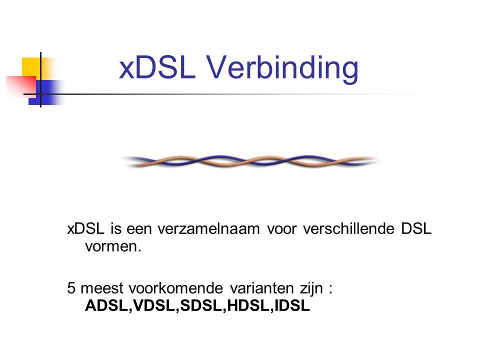 xDSL Verbinding xDSL is een verzamelnaam voor verschillende DSL vormen.