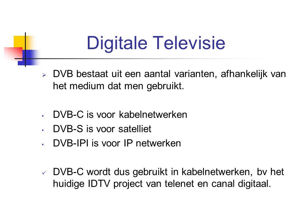 Digitale Televisie DVB bestaat uit een aantal varianten, afhankelijk van het medium dat men gebruikt.