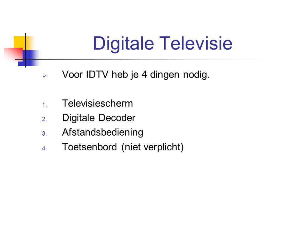 Digitale Televisie Voor IDTV heb je 4 dingen nodig. Televisiescherm