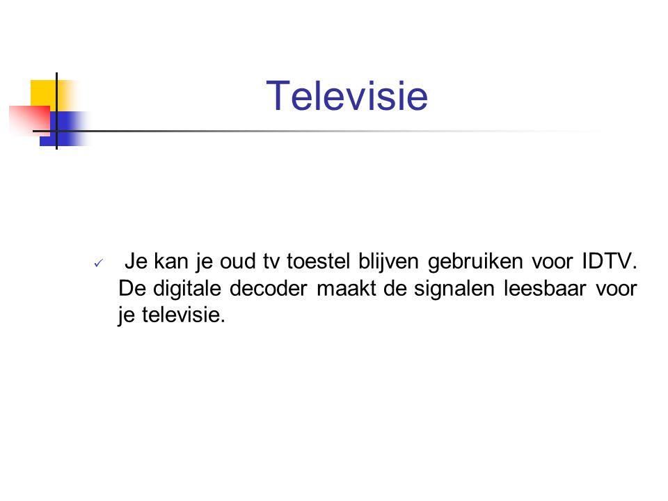 Televisie Je kan je oud tv toestel blijven gebruiken voor IDTV.