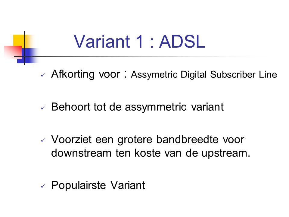 Variant 1 : ADSL Afkorting voor : Assymetric Digital Subscriber Line
