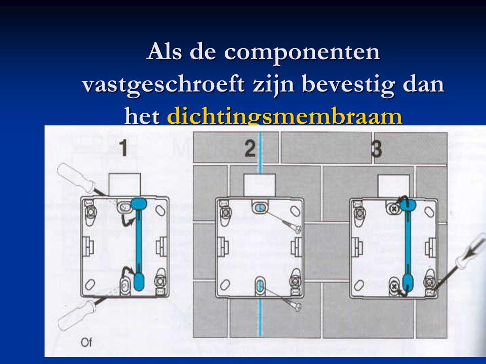 Als de componenten vastgeschroeft zijn bevestig dan het dichtingsmembraam