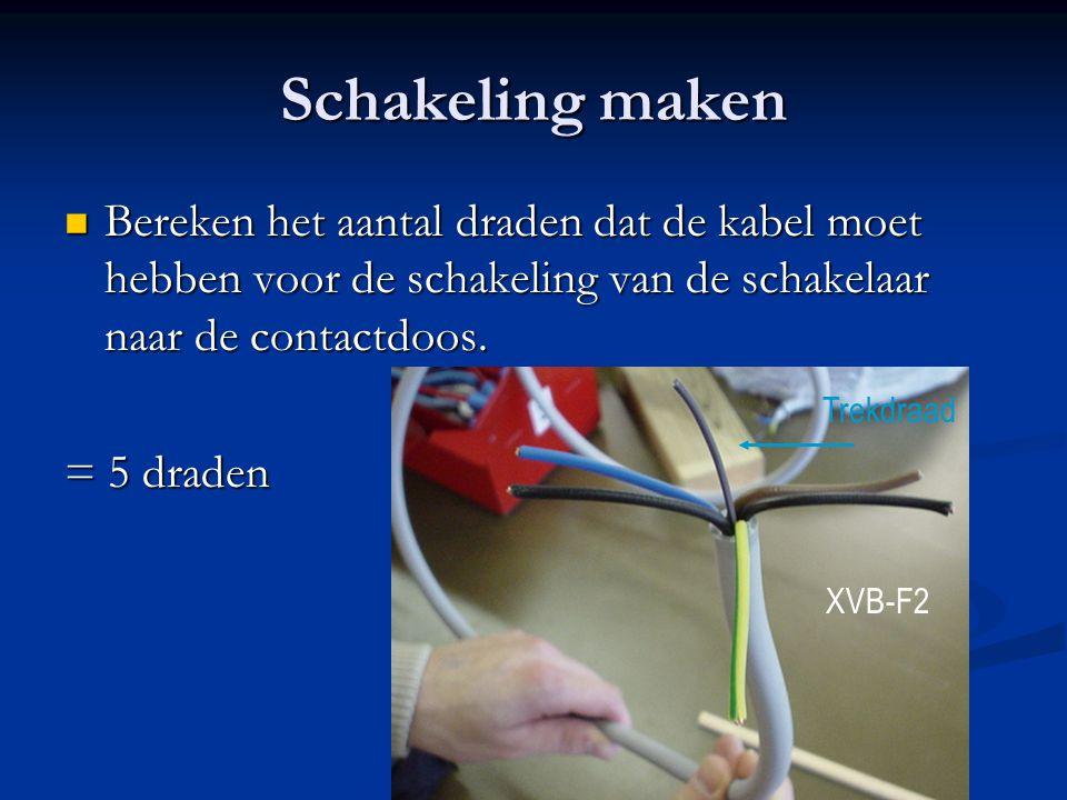 Schakeling maken Bereken het aantal draden dat de kabel moet hebben voor de schakeling van de schakelaar naar de contactdoos.