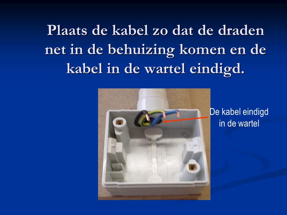 Plaats de kabel zo dat de draden net in de behuizing komen en de kabel in de wartel eindigd.