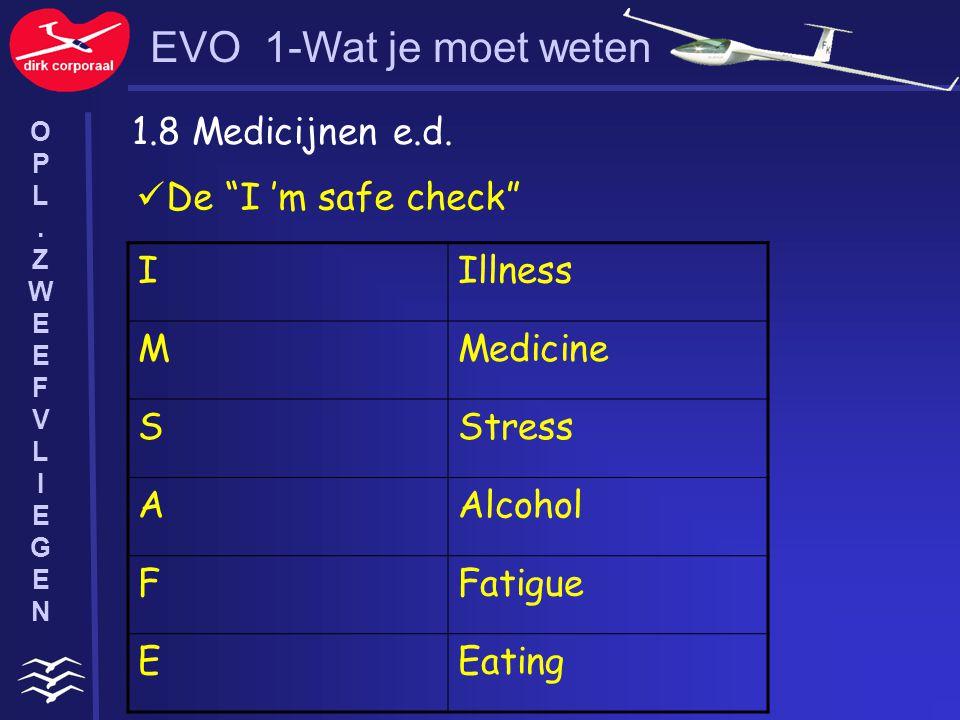 EVO 1-Wat je moet weten 1.8 Medicijnen e.d. De I 'm safe check I