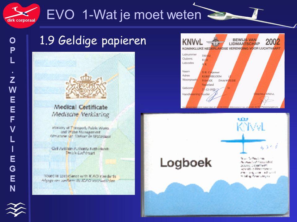 EVO 1-Wat je moet weten 1.9 Geldige papieren O P L . Z W E F V I G N