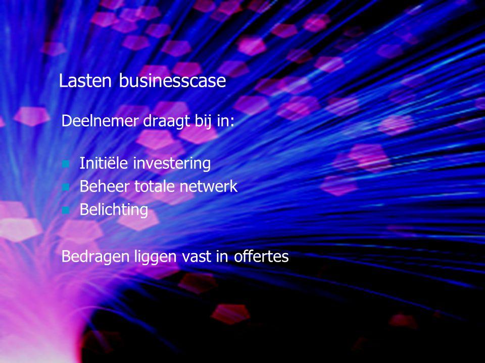 Lasten businesscase Deelnemer draagt bij in: Initiële investering