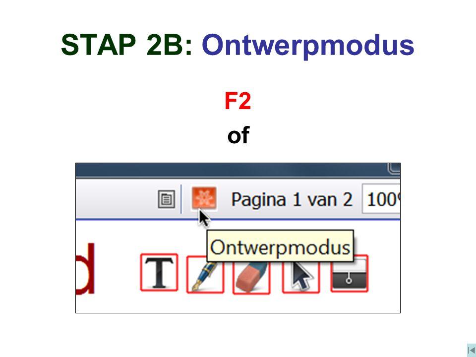 STAP 2B: Ontwerpmodus F2 of
