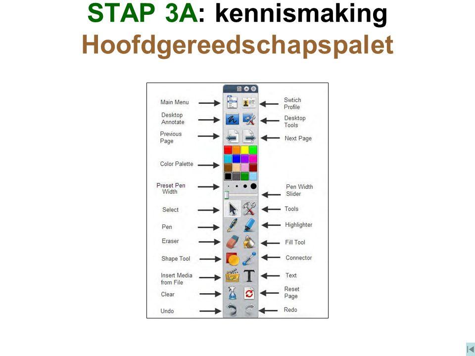 STAP 3A: kennismaking Hoofdgereedschapspalet