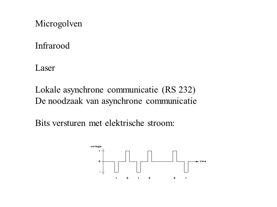 Microgolven Infrarood. Laser. Lokale asynchrone communicatie (RS 232) De noodzaak van asynchrone communicatie.