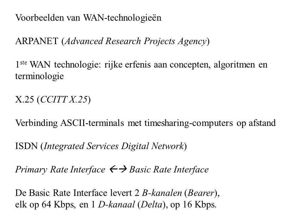 Voorbeelden van WAN-technologieën