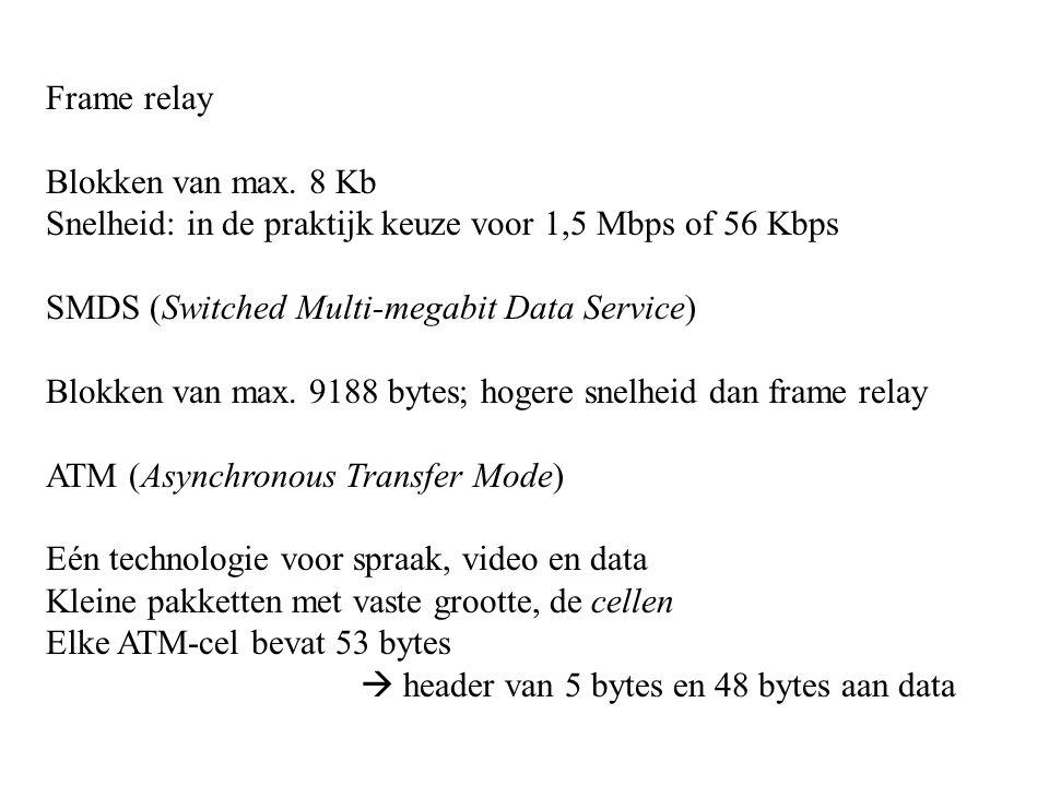 Frame relay Blokken van max. 8 Kb. Snelheid: in de praktijk keuze voor 1,5 Mbps of 56 Kbps. SMDS (Switched Multi-megabit Data Service)