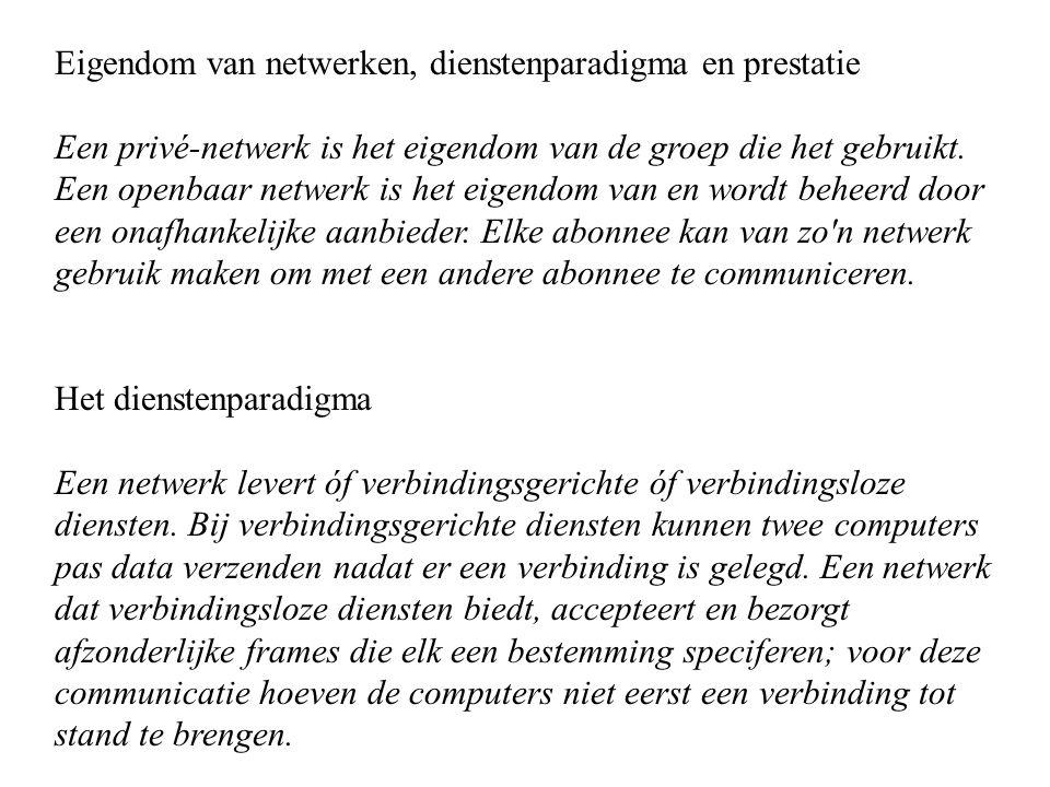 Eigendom van netwerken, dienstenparadigma en prestatie