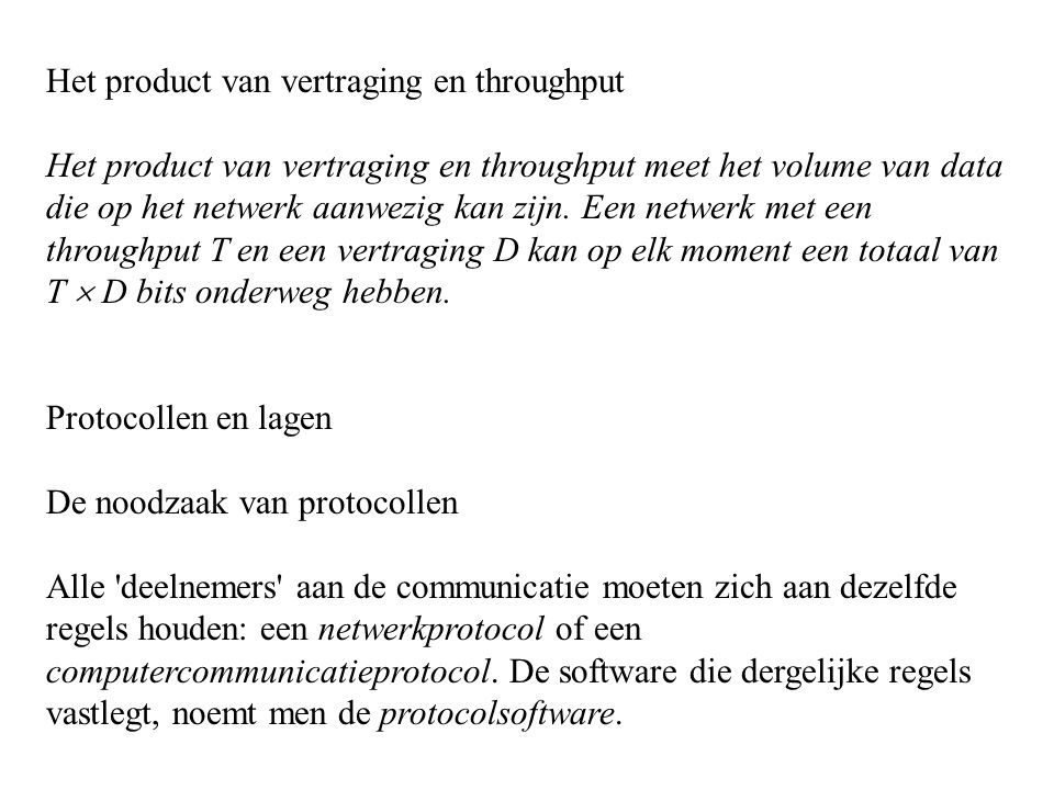 Het product van vertraging en throughput