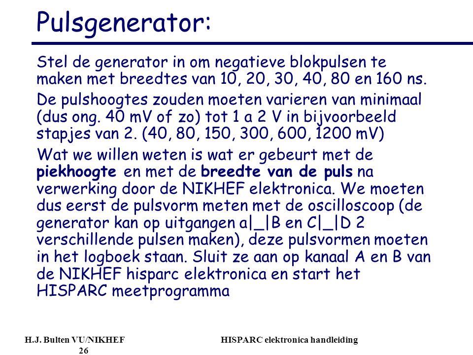 Pulsgenerator: Stel de generator in om negatieve blokpulsen te maken met breedtes van 10, 20, 30, 40, 80 en 160 ns.