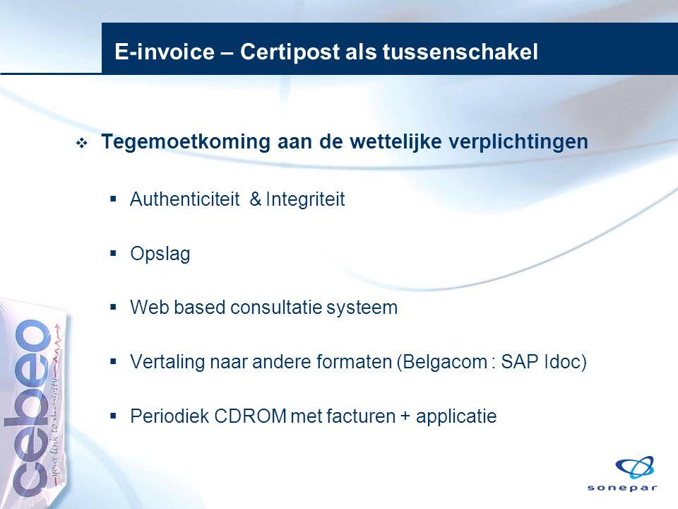 E-invoice – Certipost als tussenschakel