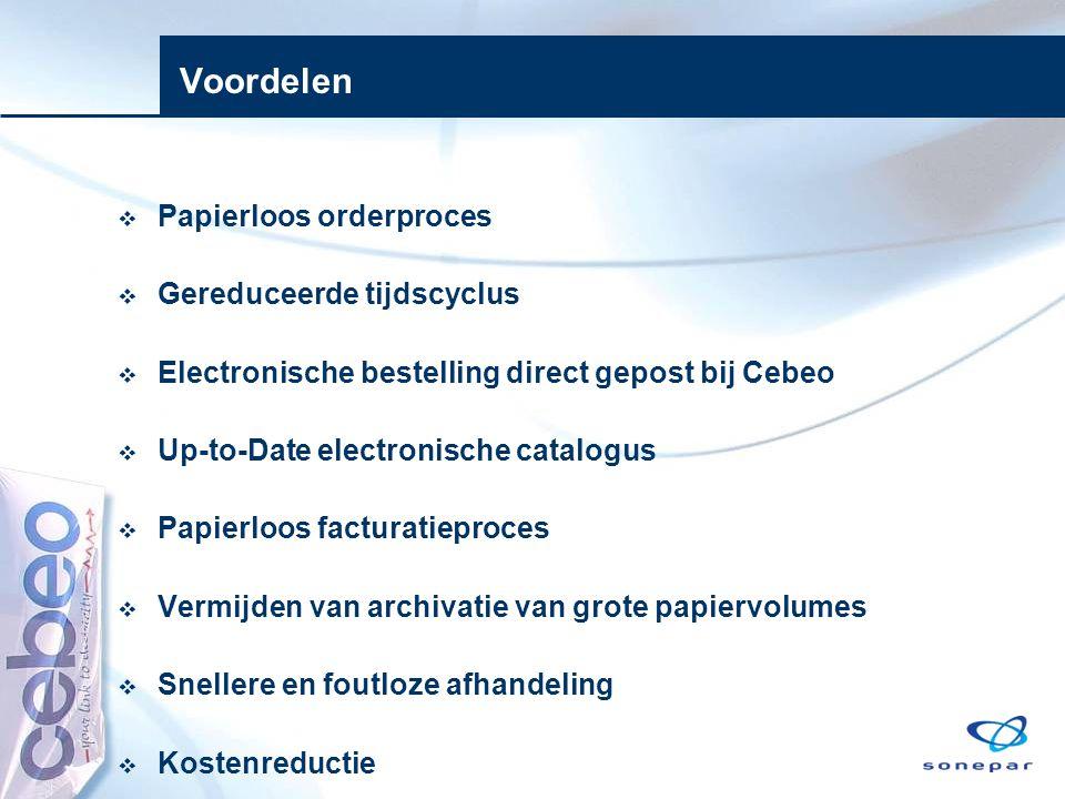 Voordelen Papierloos orderproces Gereduceerde tijdscyclus