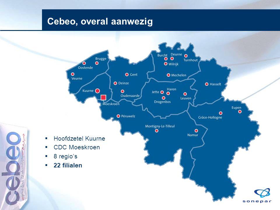 Cebeo, overal aanwezig Hoofdzetel Kuurne CDC Moeskroen 8 regio's