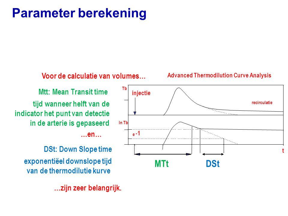 Parameter berekening MTt DSt Voor de calculatie van volumes…