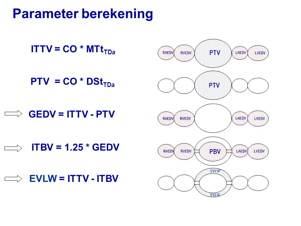 Parameter berekening ITTV = CO * MTtTDa PTV = CO * DStTDa