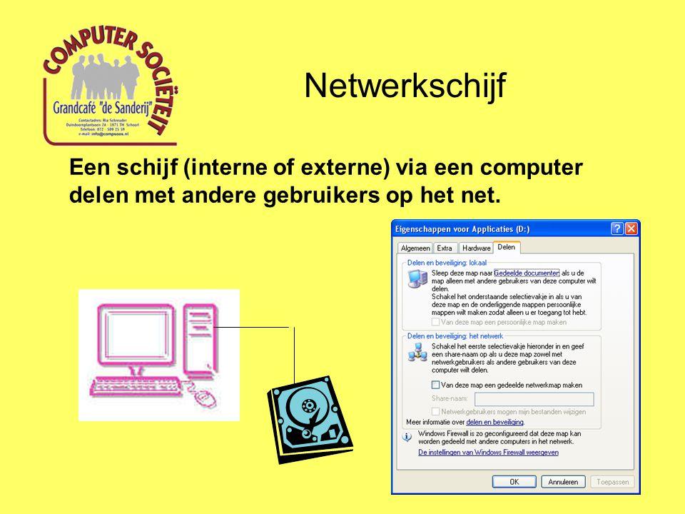 Netwerkschijf Een schijf (interne of externe) via een computer delen met andere gebruikers op het net.