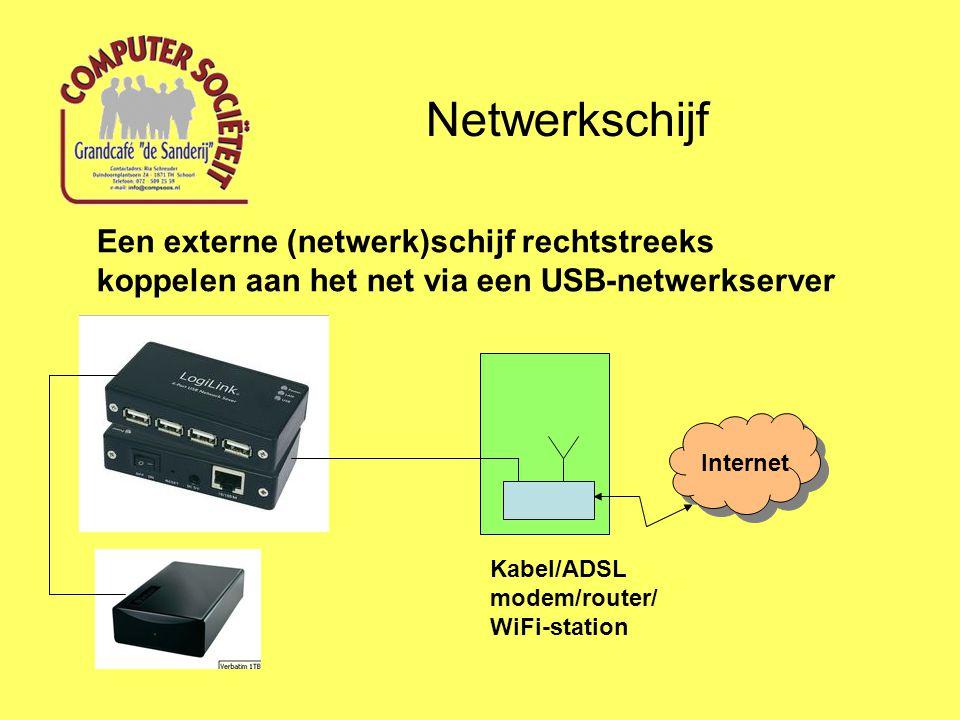 Netwerkschijf Een externe (netwerk)schijf rechtstreeks koppelen aan het net via een USB-netwerkserver.