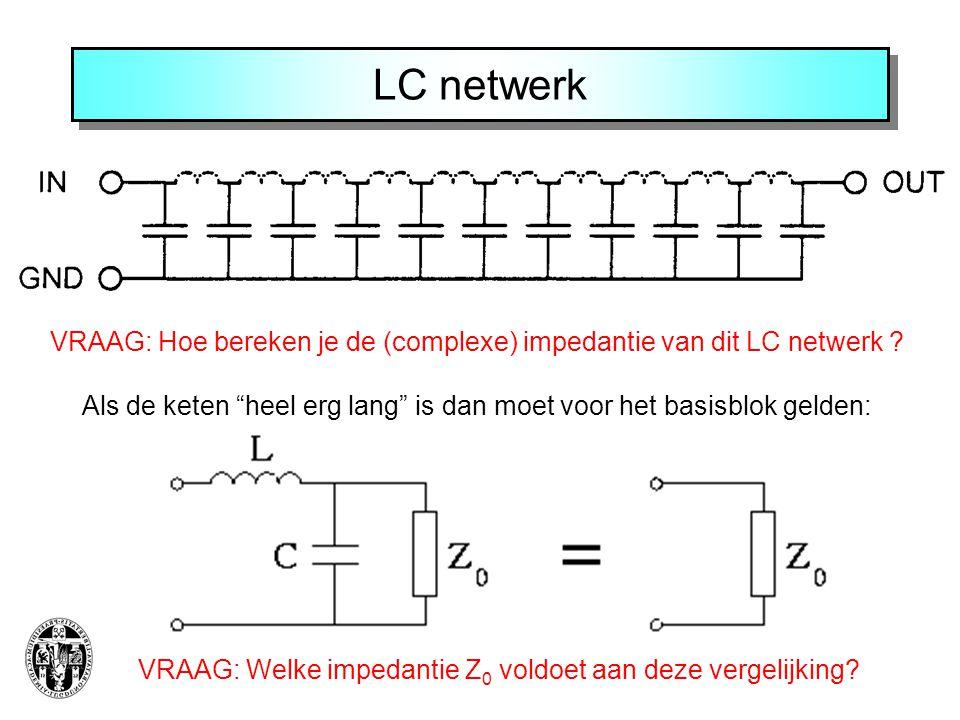 LC netwerk VRAAG: Hoe bereken je de (complexe) impedantie van dit LC netwerk Als de keten heel erg lang is dan moet voor het basisblok gelden: