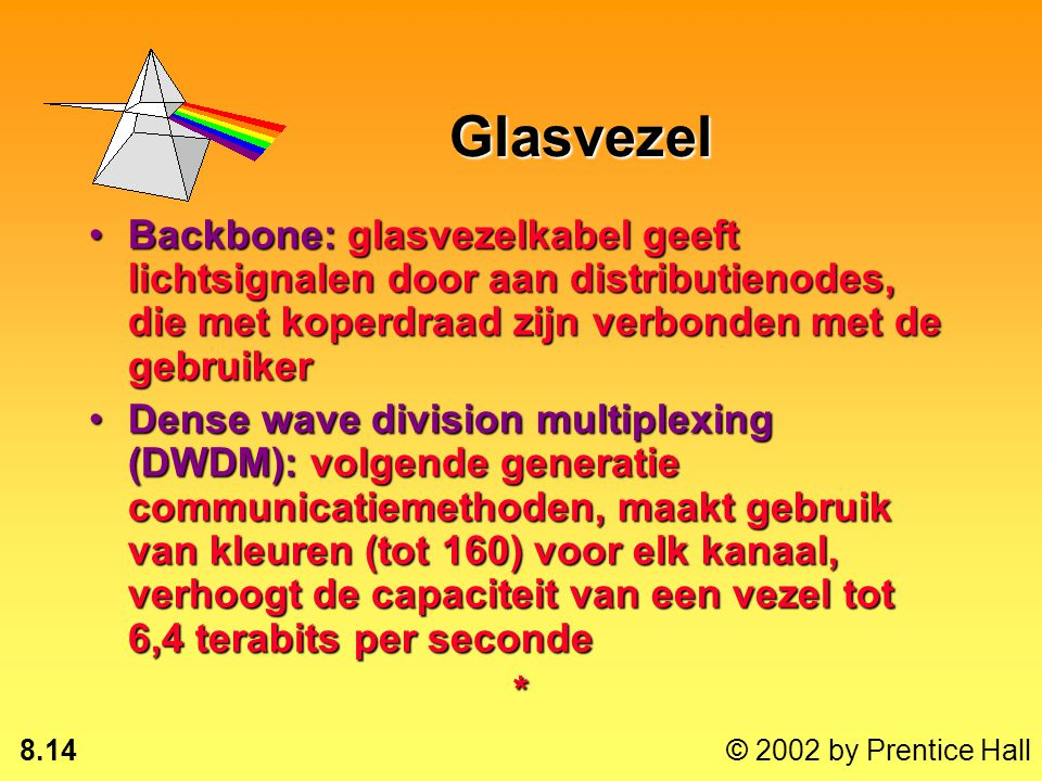 Glasvezel Backbone: glasvezelkabel geeft lichtsignalen door aan distributienodes, die met koperdraad zijn verbonden met de gebruiker.