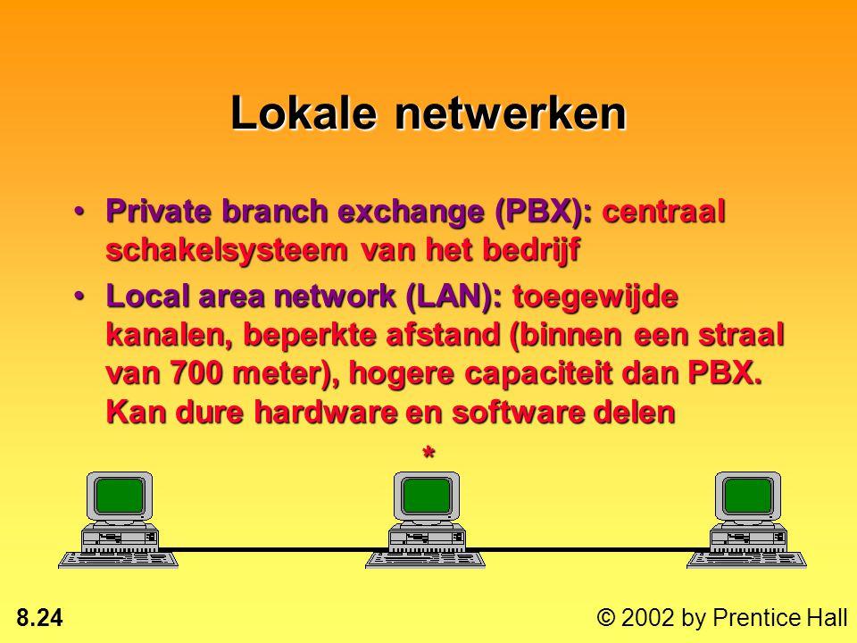 Lokale netwerken Private branch exchange (PBX): centraal schakelsysteem van het bedrijf.