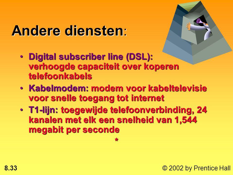 Andere diensten: Digital subscriber line (DSL): verhoogde capaciteit over koperen telefoonkabels.