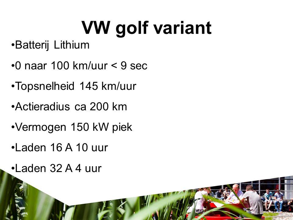 VW golf variant Batterij Lithium 0 naar 100 km/uur < 9 sec