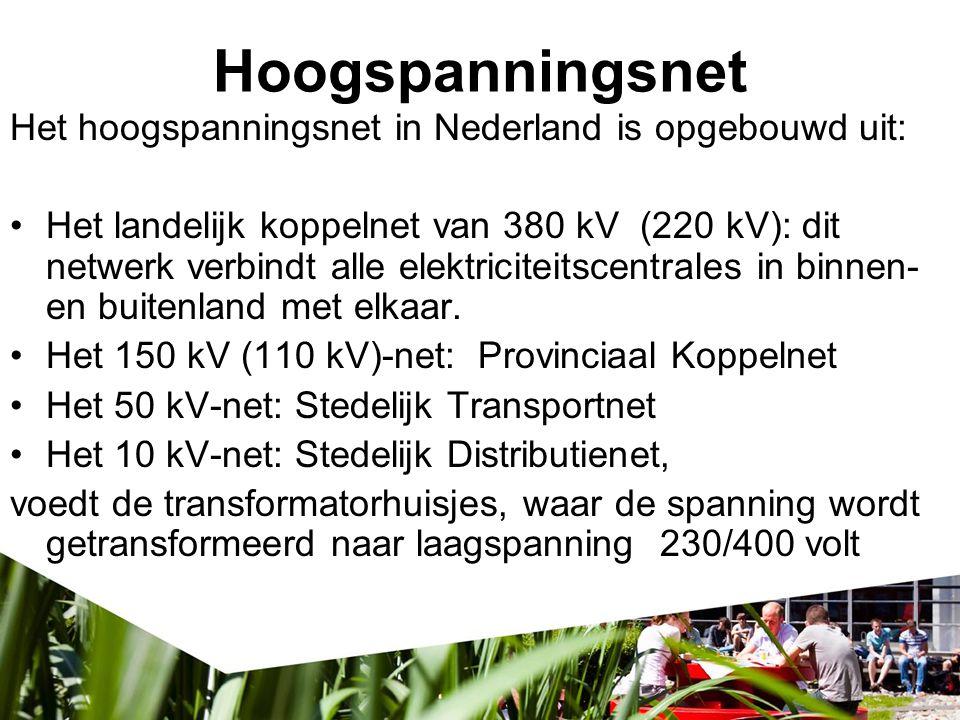 Hoogspanningsnet Het hoogspanningsnet in Nederland is opgebouwd uit: