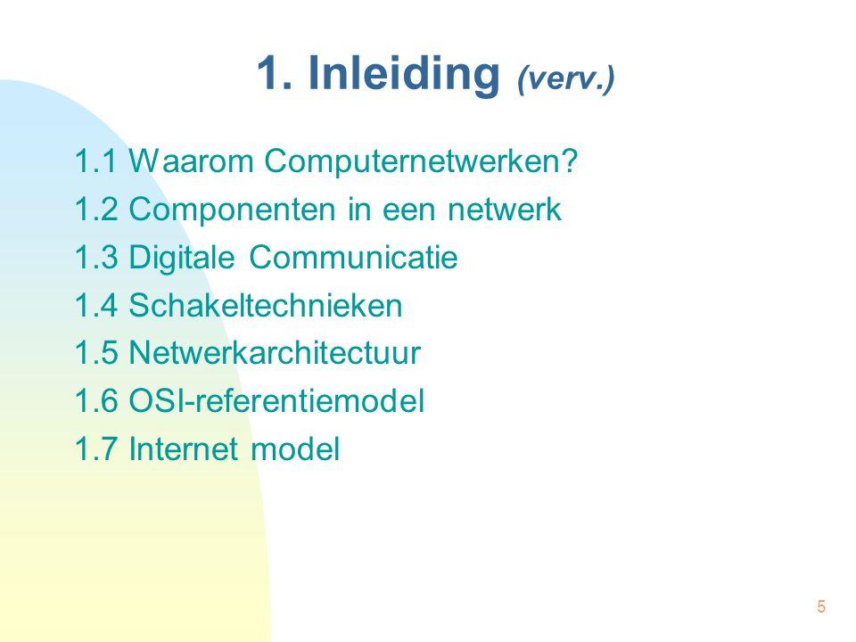 1. Inleiding (verv.) 1.1 Waarom Computernetwerken