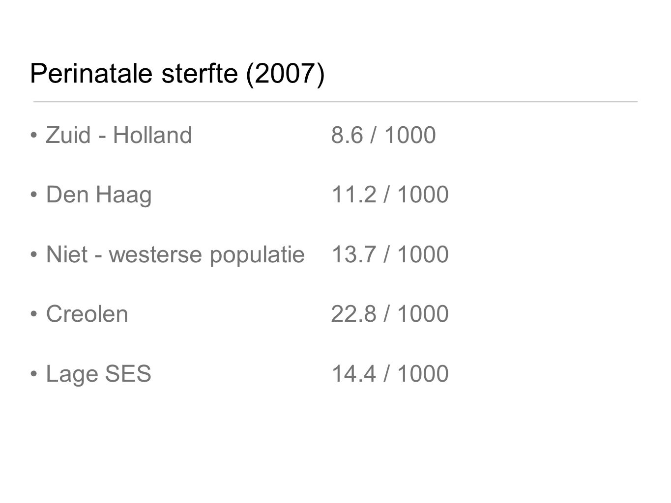 Perinatale sterfte (2007) Zuid - Holland 8.6 / 1000