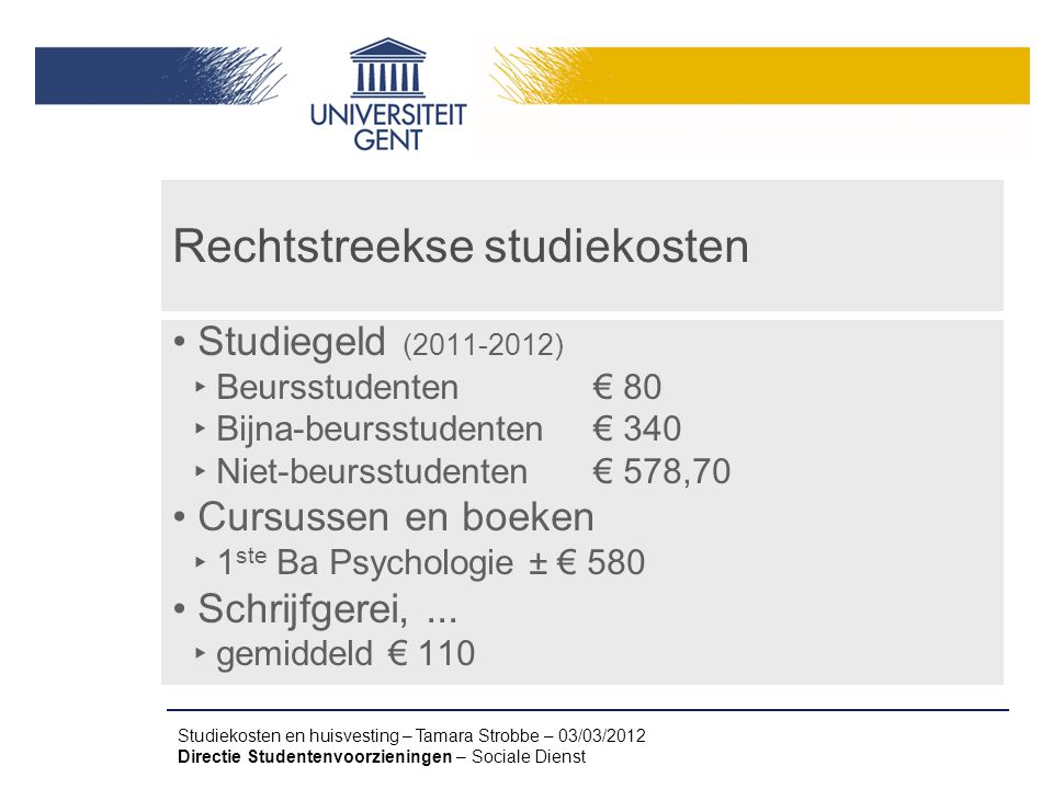 Rechtstreekse studiekosten