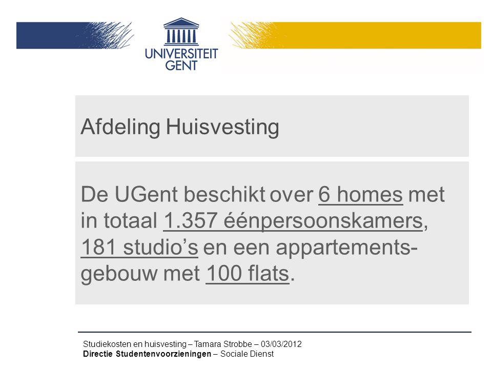 Afdeling Huisvesting De UGent beschikt over 6 homes met in totaal 1.357 éénpersoonskamers, 181 studio's en een appartements-gebouw met 100 flats.