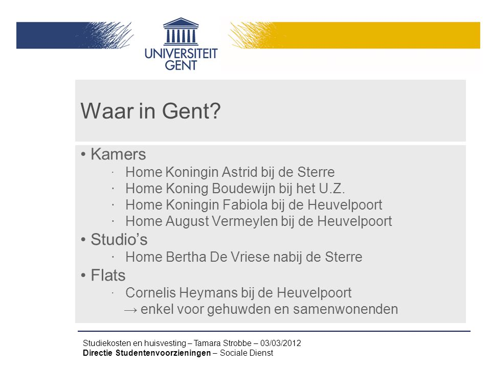 Waar in Gent Kamers Studio's Flats Home Koning Boudewijn bij het U.Z.