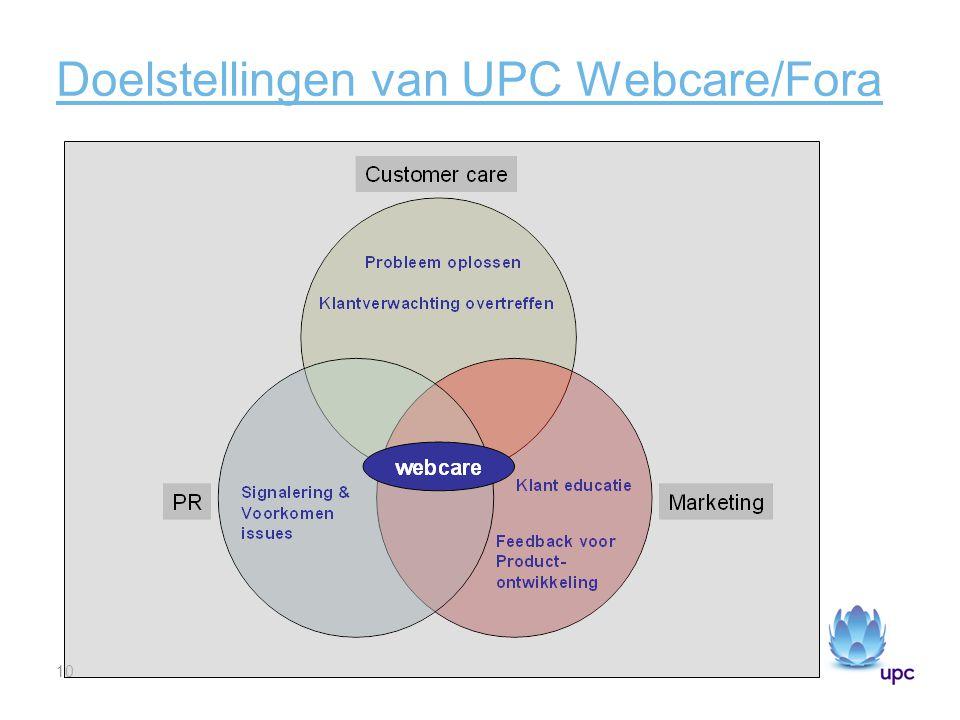 Doelstellingen van UPC Webcare/Fora