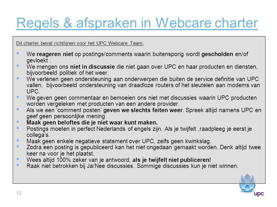 Regels & afspraken in Webcare charter