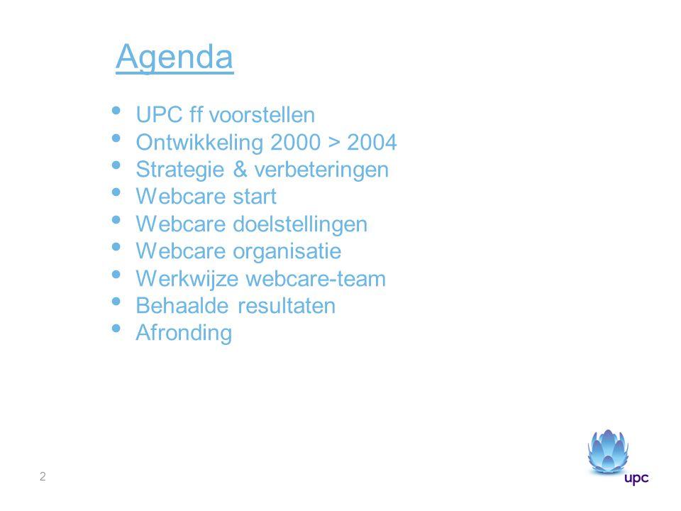 Agenda UPC ff voorstellen Ontwikkeling 2000 > 2004