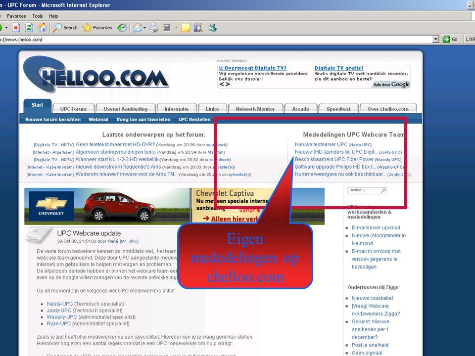 Eigen mededelingen op chelloo.com