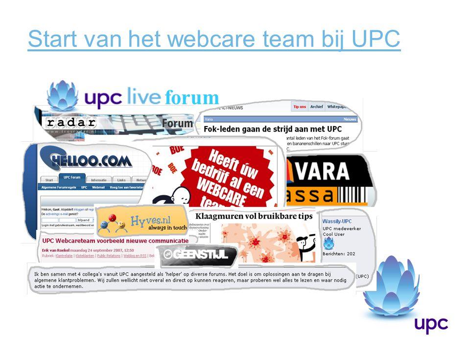 Start van het webcare team bij UPC