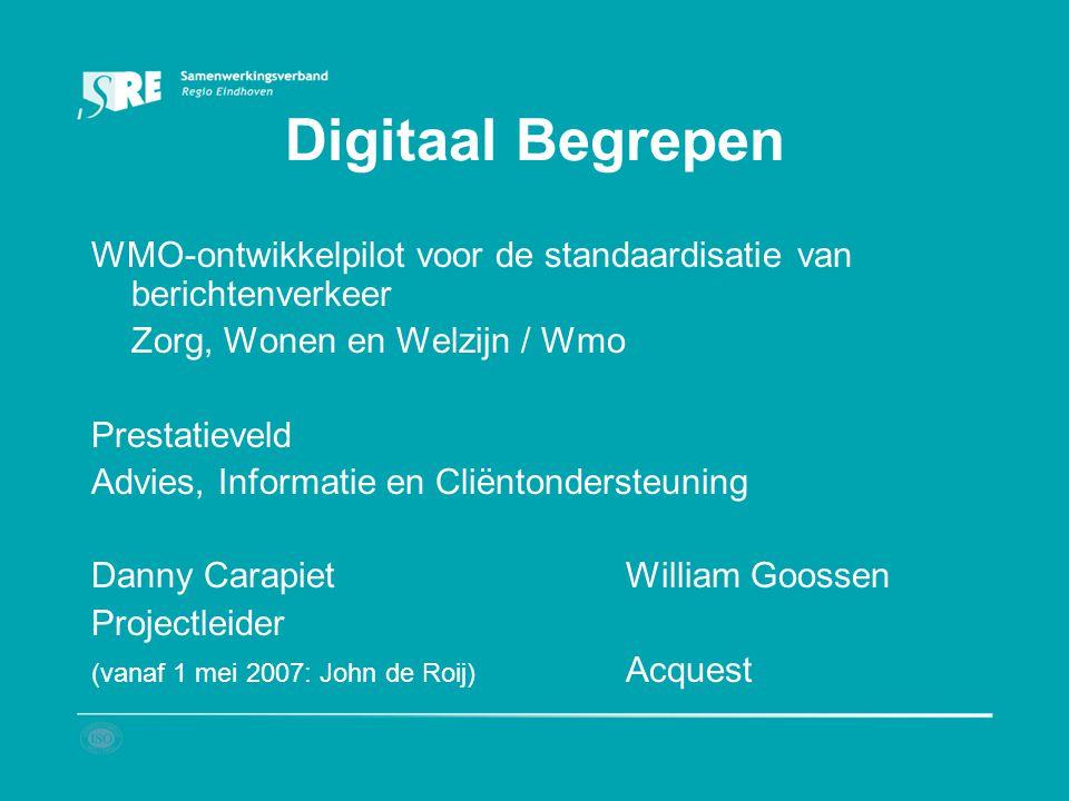 Digitaal Begrepen WMO-ontwikkelpilot voor de standaardisatie van berichtenverkeer. Zorg, Wonen en Welzijn / Wmo.