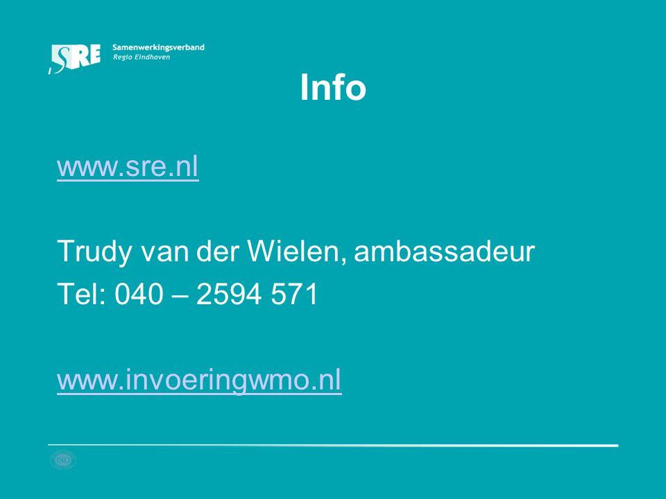 Info www.sre.nl Trudy van der Wielen, ambassadeur Tel: 040 – 2594 571